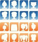Avatar,default,Profile View,Human Head,Silhouette,People,Symbol,Cartoon,Human Hair,Portrait,Social Networking,Head And Shoulders,Male,Female,Unrecognizable Person,Computer Network,Communication,Set,Front View,Simplicity