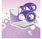 Computer,Music,Downloading,Laptop,Internet,Sound,Speaker,Funky,Exploding,Computer Graphic,Ilustration,Design,Sound Wave,Musical Note,Vector,Photographic Effects,Grunge,Abstract,Electrical Equipment,Style,Concepts,Illustrations And Vector Art,Modern,Symbol