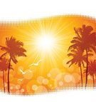 Summer,Palm Tree,Backgrounds,Sunrise - Dawn,Tropical Climate,Travel,Silhouette,Scenics,Halftone Pattern,Bird,Beauty In Nature,Coconut Palm Tree,Island,Orange Color,Vacations,Palm Leaf,Vector,Vibrant Color,Travel Destinations,Copy Space,Sun,Nature,Yellow,Wave Pattern,Summer,Sunlight,Tranquil Scene,Computer Graphic,Ilustration,Idyllic,Nature,Heat - Temperature,Digitally Generated Image,Curve,Illustrations And Vector Art