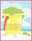 Summer,Travel,Finance,Currency,Cheerful,Vertical,Positive Emotion,Blue,Dollar,Business Travel,Illustrations And Vector Art,Yellow,Sand,Tourist,Ilustration,Beach Bucket,Business,Travel Locations,Beaches,Sand Pail and Shovel,Tourism,Fun,Making Money,Vector,Happiness