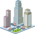 Isometric,Building - Activity,City,Skyscraper,House,Urban Scene,Office Buildings,Homes,Architecture And Buildings,Vector,Housing Development,Residential District,Mode of Transport
