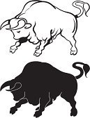 Bull - Animal,Silhouette,Symbol,Black And White,Animal,Sign,Insignia,Illustrations And Vector Art,Actions,Vector Cartoons,Animals And Pets,Contour Drawing,Livestock,Outline,Rebellion,Domestic Animals