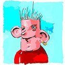 Cartoon,Hairstyle,Human Ear,Bullying,Punk,Ilustration,Pest,Vector,Portrait,Characters,Real People,Lifestyle,Rebellion,Earring,People,handcarves,reprobate,Human Face,Threats,Deterioration