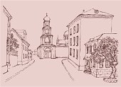Town,Roof,Architecture,Window,Entrance,Front Stoop,Monastery,Church,Street,Cathedral,Chapel,Gate,Architecture Backgrounds,Tree,Architecture And Buildings,housetop,Cityscape,Pedestrian,bystreet,Places Of Worship,Homes,Ink,Built Structure,Outline,Arranging,Ilustration,Classical Style