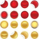 Seal - Stamp,Exploding,Gold Colored,Star Shape,Modern,Badge,Label,Award,Price,Banner,Sign,Computer Icon,Symbol,Circle,Red,Success,Vector Icons,Isolated Objects,Isolated-Background Objects,Concepts And Ideas,Vector,Ilustration,Illustrations And Vector Art