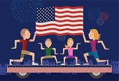 Parade Float,Fourth of July,Family,Patriotism,Dancing,Parade,Holiday,Celebration,Ilustration,Vector Cartoons,Cute,Holidays And Celebrations,Illustrations And Vector Art,Vector,Simplicity,Firework Display,Lifestyle,Families,Cheerful,Multi Colored,Fun,Happiness,American Flag