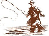 Fly-fishing,Fishing,Fishing Rod,Outdoor Pursuit,Sketch,Individual Sports,Sports And Fitness,Sportsman,Drawing - Art Product,Illustrations And Vector Art,Nature