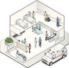 Hospital,Isometric,Healthcare And Medicine,Doctor,Built Structure,Medical Exam,Bed,Hospital Ward,Patient,Clinic,Slice,Technology,Emergency Room,Surgery,Ambulance,Nurse,People,Operating Room,Ilustration,Communication,Corridor,Domestic Room,Digital Tablet,Three-dimensional Shape,MRI Scan,Computer Network,MRI Scanner,Waiting Room,Touch Screen,Three Dimensional,Wireless Technology,Nurses Station,Variation,Scrubs,Multi-Ethnic Group,High Angle View,Women,Wheelchair,Lab Coat,Quarter View,Wall,Three-quarter View,Men,White Background,Copy Space,White,Gray,Intricacy,Clean,Surgeon,Bright