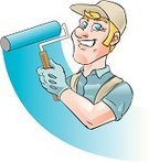 Men,Manual Worker,Painting,House Painter,Hat,Paintbrush,Paintings,Protective Glove,Ilustration,Paint Roller,Service,Smiling,Construction,Isolated,Professional Occupation,Illustrations And Vector Art,Industry,Occupation,Blond Hair,Blue Eyes,Expertise