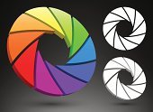 Aperture,Shutter,Color Wheel,Symbol,Computer Icon,Diaphragm - Contraceptive,Spectrum,Focus - Concept,Three Dimensional,Three-dimensional Shape,Circle,Colors,Color Image,Icon Set,Spinning,Multi Colored,Swirl,Vector,Rainbow,Set,Concepts And Ideas,Illustrations And Vector Art,Turning,Arts And Entertainment,Arts Abstract,Vector Icons,Twisted