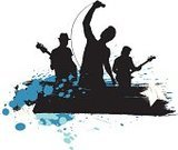 Musical Band,Rock Band,Music,Silhouette,Popular Music Concert,Singer,Grunge,Microphone,Banner,Guitar,Grunge,Abstract,Arts And Entertainment,Illustrations And Vector Art,Music,Spray,Splashing,Ink