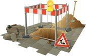 Construction Site,Construction Industry,Hole,Repairing,Heap,Sidewalk,Stack,Dirt,Street,Road Construction,Sand,Construction Worker,Fence,Shovel,Working,Hammer,Road Work Ahead Sign,Work Tool,Building - Activity,Brown,Danger,Gray,Objects/Equipment,Red,Construction Barrier,Illustrations And Vector Art,Industrial Objects/Equipment,Warning Sign,Stone Material,Plaster,Barricade,White,Technology