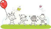 Child,Hot Air Balloon,Playful,Playing,Friendship,Doodle,Cheerful,Happiness,Cartoon,Fun,Walking,Group Of People,Park - Man Made Space,Babies And Children,Illustrations And Vector Art,Lifestyle