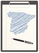 Map,Spain,Clipboard,Ilustration,Single Object,International Border,Sketch,Pencil Drawing,Clip,Travel Locations,Concepts And Ideas,Equipment,Ballpoint Pen,Vector,White,Design,Sheet,Illustrations And Vector Art,Notebook,Pen,Ink,Blue,Paper,Europe,Note Pad
