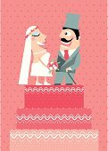 Newlywed,Just Married,Wedding Cake,Wedding,Two People,Bridegroom,Vector,Ilustration,Wedding Ceremony,Couple,Holidays And Celebrations,Weddings,Bride,Dress,The Human Body,White,Family,Illustrations And Vector Art,People,Loving,Face To Face,Romance,Love,Pink Color,Holding Hands