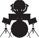 Drum Kit,Silhouette,Musical Instrument,Drum,Drumstick,Black And White,Musician,Music,People,Vector Icons,Snare Drum,Vector,Ilustration,Kick Drum,Music,Drummer,Arts And Entertainment,Illustrations And Vector Art,Percussion Instrument,Isolated,Bass Drum