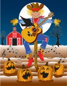 Scarecrow,Halloween,Pumpkin,Farm,Singing,Thanksgiving,Vector Cartoons,Halloween,Full Moon,Illustrations And Vector Art,Holidays And Celebrations
