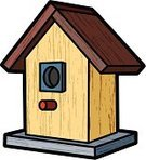 Birdhouse,Wood - Material,Textured,Ilustration,Grained,Isolated On White,Isolated,Illustrations And Vector Art,Architecture And Buildings,Bird,Animals And Pets,Old-fashioned,Retro Revival,Birds,Vector,Antique,Nature,Outdoors