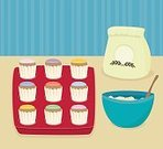 Muffin,Cake,Tray,Spoon,Cupcake,Mixing,Icing,Food,Cooking,Bowl,Baking,Vector,Flour,Dessert,Ilustration,Pattern,Baked,Computer Graphic,Design,Indulgence