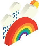 Rainbow,Isometric,Weather,Isolated,Computer Graphic,Cloud - Sky,Simplicity,Illustrations And Vector Art,Vector Icons,Concepts And Ideas,Isolated On White,no background,Vibrant Color