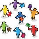 Stick Figure,Jigsaw Piece,Group Of People,Teamwork,Multi-Ethnic Group,Team,Vector,Jigsaw Puzzle,Thinking,Problems,Solution,Ilustration,Concepts,Multi Colored,Ideas,Holding,Inspiration,Vibrant Color,Sparse,Sketch,White Background