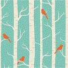Winter,Bird,Birch Tree,Tree,Pattern,Backgrounds,Forest,Retro Revival,Cardinal,Seamless,Vector,Branch,Snow,Nature,Snowflake,Ilustration,1940-1980 Retro-Styled Imagery,Tree Trunk,Abstract,Snowing,Design,Modern,Season,Orange Color,White,Design Element,Blue,Style,Illustrations And Vector Art,Nature Backgrounds,Nature,Vector Backgrounds