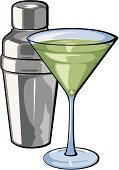 Cocktail Shaker,Martini Glass,Martini,Vector,Cocktail,Isolated On White,Food And Drink,Isolated,Illustrations And Vector Art,Alcohol,Glass,Apple Martini,Ilustration,Alcohol,Drink