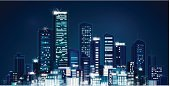 Night,Urban Skyline,City,Urban Scene,Building Exterior,Lighting Equipment,Street Light,Illuminated,Cityscape,Dusk,Vector,Town,Panoramic,Residential Structure,Design,Skyscraper,Image,House,Sky,Bright,Ilustration,City Life,Tower,Illustrations And Vector Art,Architecture,Shiny,Downtown District,Blue,Architecture Backgrounds,Black Color,Vector Backgrounds,Architecture And Buildings