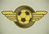 Artificial Wing,Sign,Soccer,Retro Revival,Coat Of Arms,Football,Ball,Goal,Design,Sports Team,Computer Graphic,Sport,Single Object,Good Sportsmanship,Scoring,Vector,Isolated,Symbol,Competitive Sport,Concepts,Ideas,Recreational Pursuit,Badge,Style,Label,Ilustration,Insignia