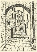Stone Material,Medieval,Street,Arch,Italy,Engraved Image,Cobblestone,Landscaped,Urban Scene,Obsolete,Road,Brick,Sketch,City,Old,House,Wall,Engraving,Italy - Texas,Retro Revival,Built Structure,Electric Lamp,Building Exterior,Outline,Pencil Drawing,Asphalt,Europe,Drawing - Art Product,Corridor,Sidewalk,Drawing - Activity,Steps,Cityscape,Ink,Architecture,Ancient,Ilustration,France,Staircase,Art,Painted Image,Vector,Outdoors,Narrow,Old-fashioned,Homes,Antique,Facade,Architecture And Buildings,Lantern,City Life,Pedestrian,handwork,Town,History,Backgrounds,Residential District,Architectural Detail