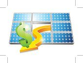 Currency,Electricity,Alternative Energy,Solar Panel,Copy Space,Vector,Responsibility,Shiny,Ilustration,Outdoors,Renewable Energy,Design,Reflection,Arrow Symbol,Environment,Scenics,Direction,Nature,Shadow,Symbol,Blue,Green Color,Currency Symbol,Illuminated,Idyllic,Orange Color,Dollar Sign