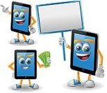 Digital Tablet,Cartoon,Android,Portable Information Device,Characters,Technology,Ilustration,Computer,Sign,Cheerful,Drawing - Art Product,Clip Art,Set,Business,Vector,Isolated On White,Mascot,Collection,Currency,Computer Graphic