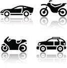 Motorcycle,Car,Silhouette,Computer Icon,Symbol,Sports Car,Driving,Off-Road Vehicle,Sign,Sports Utility Vehicle,Street,Wheel,Vector,Mode of Transport,Remote,Land Vehicle,Black Color,Transportation,sports vehicle,Engine,Set,Series,Badge,Collection,4x4,Clip Art,Image,Riding,Reflection,Speed,White Background