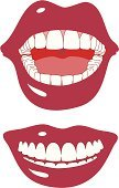 Human Mouth,Human Teeth,Smiling,Human Lips,Cheerful,Laughing,Happiness,Dental Health,Human Tongue,Ilustration,Makeup/Cosmetics,Lipstick,Beauty And Health,Clip Art,Vector,Healthcare And Medicine,Illustrations And Vector Art,Health Symbols/Metaphors,Gums,Drawing - Art Product,White,Red,Make-up