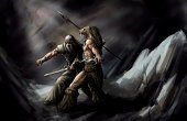 Fantasy,Warrior,Sword,Conflict,Painted Image,Paintings,Cave,Ilustration,Suit of Armor,Mythology,Wallpaper,Arts And Entertainment,Fighting,Illustrations And Vector Art,Dagger,People,Men,Spear
