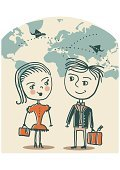 Business Travel,People Traveling,Travel,Cartography,Journey,Couple,Women,Cartoon,Airplane,Tourism,Luggage,Family,Cheerful,Illustrations And Vector Art,People,Concepts And Ideas,Doodle,Men,Cute,Fun