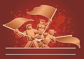 Flag,Holding,Waving,Men,Bizarre,Box - Container,Red,Cartoon,Vector,Concepts And Ideas,Objects/Equipment,Motivation,Red Background,Three People,Color Image