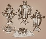 Samovar,Retro Revival,Old-fashioned,Russia,Antique,Vector,Ilustration,Sketch,hand-painted,Design,Cultures,Image,Bun-fight,Gray,Vector Backgrounds,Objects/Equipment,Illustrations And Vector Art,Isolated,Decorative Urn,Silver Colored,Craft,Loaf of Bread,Isolated Objects,Household Objects/Equipment,Isolated-Background Objects,Tula