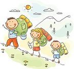 Hiking,Child,Family,Travel,Outdoors,Recreational Pursuit,Vacations,Cartoon,Journey,Mountain,Non-Urban Scene,Walking,Happiness,Family with One Child,Leisure Activity,Nature,Tourism,Climbing,active lifestyle,Moving Up,Camping Outfit,Cute,Summer,Parent,Drawing - Art Product,Little Boys,Backpack
