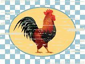 Rooster,Old-fashioned,Livestock,Tablecloth,Beaten Up,Memorial Plaque,Cockerel,Label,Industry,Gingham Checks,Checkered Background,Rusty,Farm Animals,1940-1980 Retro-Styled Imagery,Poultry,Animal Backgrounds,Retail/Service Industry,Crowing Rooster,Animals And Pets,Oval Shape,Old,Weathered,Sign,Wood - Material