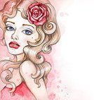 Glamour,Elegance,Luxury,Vertical,Human Hair,Design,Paintings,Drawing - Art Product,Pink Color,White Color,Old-fashioned,Flower,Rose - Flower,Spray,Model - Object,Beauty,Adult,Young Adult,Art And Craft,Art,Cute,Watercolor Painting,Pencil Drawing,Illustration,Watercolor Paints,Sketch,Painted Image,Parade,Females,Women,Fashion,Retro Styled,Beautiful People,artificial model