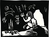 Cave,Painted Image,Art,Caveman,Fire - Natural Phenomenon,Ancient,Paintings,Neanderthal,History,Heat - Temperature,The Past,Night,Symbol,Religion,Illustrations And Vector Art,Men,Concepts And Ideas,Arts And Entertainment,Woodcut,Cooking,Painting,Learning