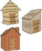 The Three Little Pigs,House,Straw,Stick - Plant Part,Brick,Vector Cartoons,Homes,Architecture And Buildings,Illustrations And Vector Art,Fairy Tale