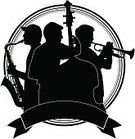 Jazz,Musical Band,Back Lit,Silhouette,Trio,Musician,Concert Band,Trumpet,Badge,Group Of People,Double Bass,Music Festival,Saxophonist,Arts Backgrounds,Arts Symbols,Music,Arts And Entertainment,Isolated On White,Ribbon