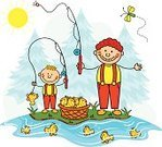 Fishing,Child,Cartoon,Classroom,Cheerful,Happiness,River,Basket,Child Drawing,Agriculture,Wilderness Area,Extreme Terrain,Child's Drawing,Smiling