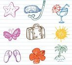 Vacations,Sketch,Ilustration,Doodle,Cocktail,Summer,Symbol,Butterfly - Insect,Resting,Sun,Diving,Starfish,Set,Beach,Face Guard - Sport,Tropical Climate,Single Flower,Sunlight,Hawaiian Ethnicity,Island,Tube,Hibiscus,Vector,Sea,Palm Tree,Lifestyle,Orange Color,Design Element,Exploration,Travel,Travel Locations,Luggage,Illustrations And Vector Art,Season,Relaxation,Journey,Creativity,Juice,Slapping