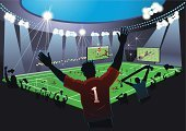 Stadium,Soccer,Football,Soccer Ball,Fan,Sports Team,Crowd,Sport,Success,Green Color,Sports And Fitness,Goal,Gate,Night,Competitive Sport,Net - Sports Equipment,Illustrations And Vector Art,Television Broadcasting,Playing Field,Penalty,Shooting at Goal,Winning,Goalie