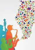 Jazz,Trumpet,Popular Music Concert,Jazz Festival,Spotted,Musical Band,Trio,Three People,Double Bass,Musician,Circle,Abstract,Multi Colored,Saxophonist,Montreal,Transparent,Wave Pattern,Vibrant Color,Vertical,Copy Space,Ilustration