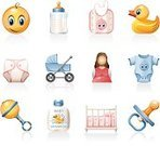Baby,Symbol,Icon Set,Rubber Duck,Crib,Baby Clothing,Baby Bottle,Toy Rattle,Pacifier,Diaper,Milk Bottle,Vector,Mother,Bib,Human Pregnancy,Infant Bodysuit,Shampoo,Baby Carriage