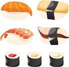 Sushi,Japanese Culture,Rice - Food Staple,Cooking,Salmon,Group of Objects,Cultures,Cartoon,Seaweed,Nori,Meal,Ilustration,Lunch,Healthy Eating,Gourmet,Vegetable,Raw Food,Set,Green Color,White,Freshness,Food State,Prepared Fish,Black Color,Red,Saltwater Eel,Food,Seafood,Yellow,Backgrounds,Color Image,Cucumber,Prepared Shrimp,Menu,Rolled Up